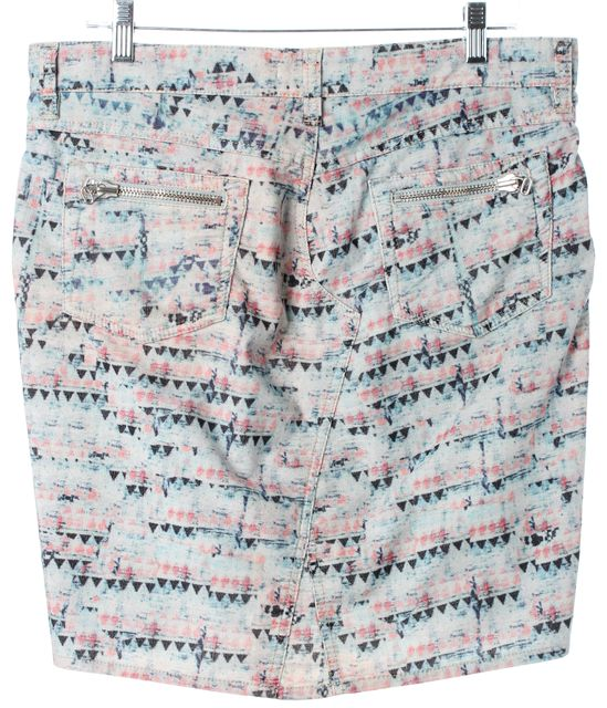 ÉTOILE ISABEL MARANT Blue Pink Abstract Corduroy Straight Skirt