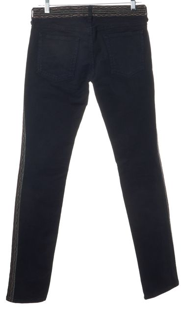 ÉTOILE ISABEL MARANT Black Red Embroidered Skinny Jeans