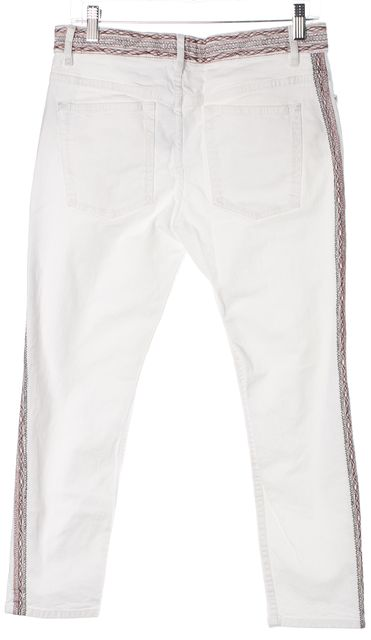 ÉTOILE ISABEL MARANT White Denim Red Black Embroidered Cropped Jeans