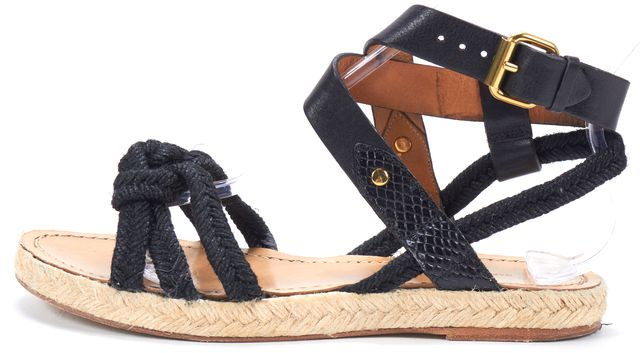ÉTOILE ISABEL MARANT Black Leather Canvas Woven Flat Espadrille Sandals