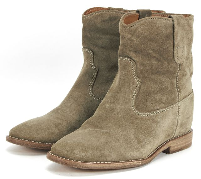 ÉTOILE ISABEL MARANT Green Suede Hidden Wedge Ankle Boots