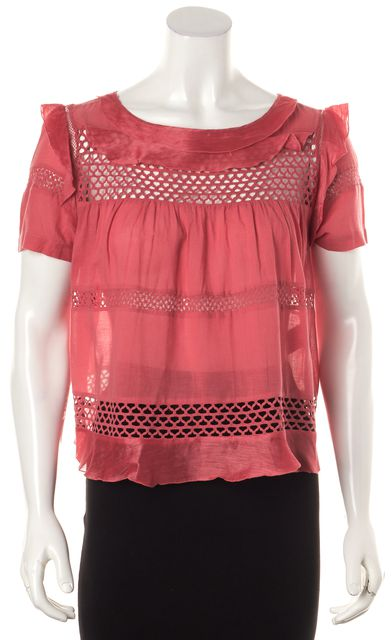 ÉTOILE ISABEL MARANT Pink Striped Open Knit Babydoll Cropped Blouse Top