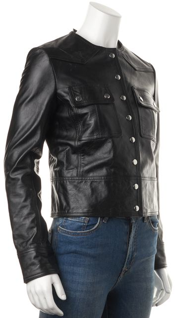 ÉTOILE ISABEL MARANT Black Leather Snap Button Collarless Jacket