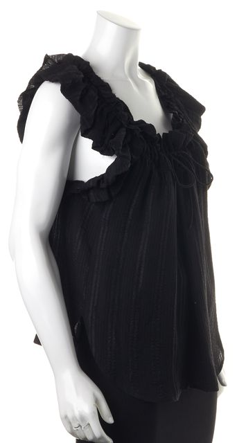ÉTOILE ISABEL MARANT Black Silk Ruffle Sleeveless Relaxed Fit Blouse Top