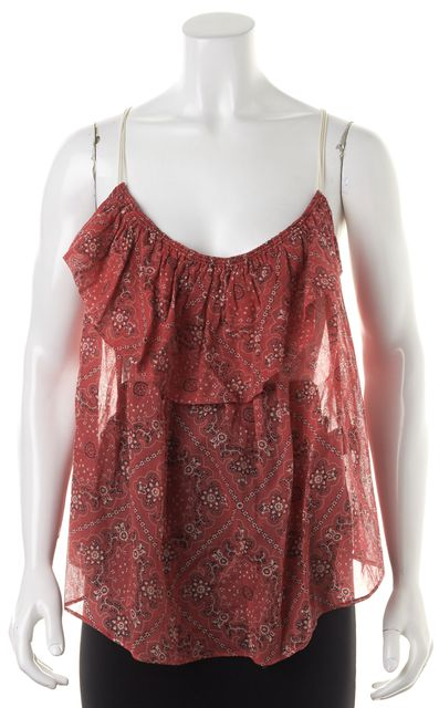 ÉTOILE ISABEL MARANT Red Ivory Floral Cotton Semi Sheer Blouse
