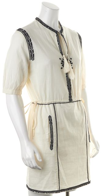 ÉTOILE ISABEL MARANT Ivory Black Embroidered Blouson Dress