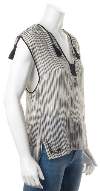ÉTOILE ISABEL MARANT Black Gray Striped Embroidered Blouse Top