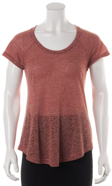 ÉTOILE ISABEL MARANT Heather Pink Linen Cap Sleeve Basic T-Shirt