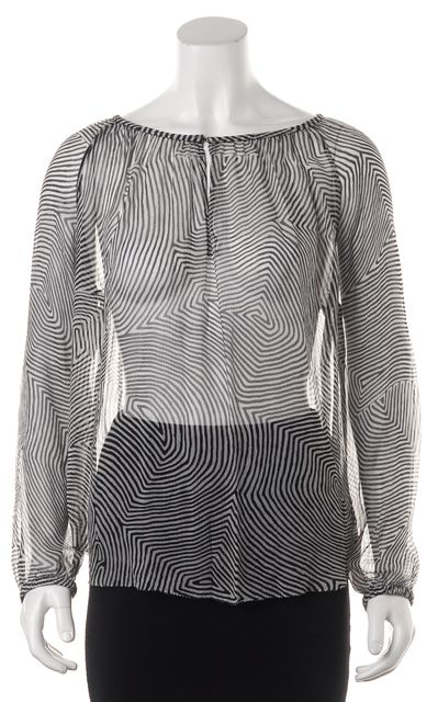 ÉTOILE ISABEL MARANT Black White Geometric Printed Sheer Silk Blouse