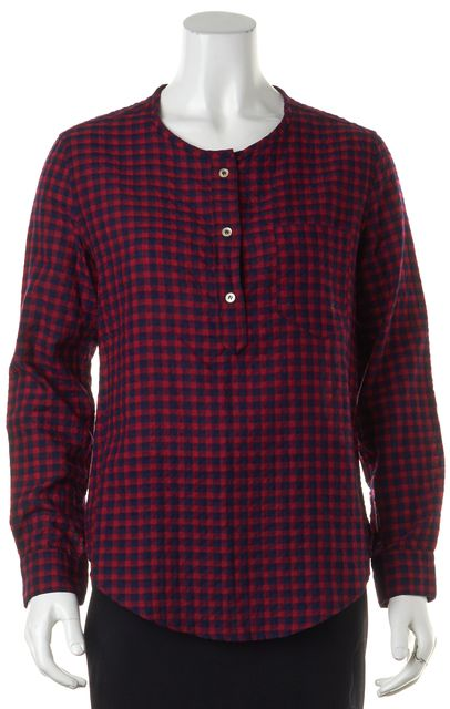 ÉTOILE ISABEL MARANT Red Navy Textured Check Long Sleeve Blouse Top