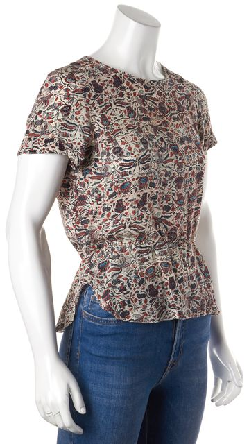 ÉTOILE ISABEL MARANT Red Abstract Graphic 100% Silk Short Sleeve Blouse Top