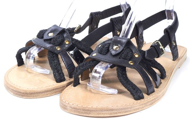 ÉTOILE ISABEL MARANT Black Raffia Leather Flat Sandals