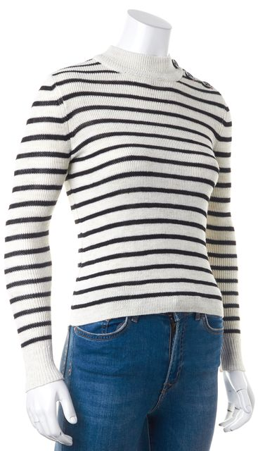 ÉTOILE ISABEL MARANT Beige Black Striped Linen Mock Sweater