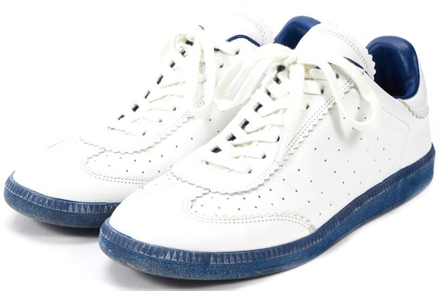 ÉTOILE ISABEL MARANT White Blue Leather Bryce Sneakers