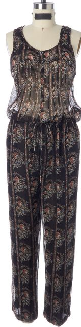 ÉTOILE ISABEL MARANT Black Floral Silk Semi Sheer Sleeveless Jumpsuit