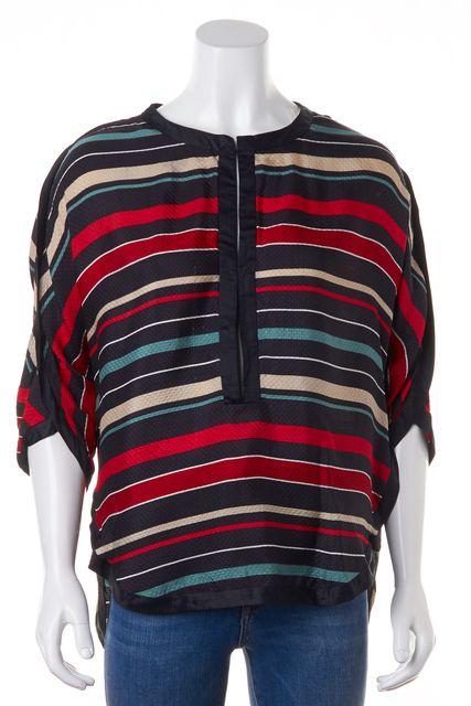 ÉTOILE ISABEL MARANT Black Red Striped Silk Blouse Top