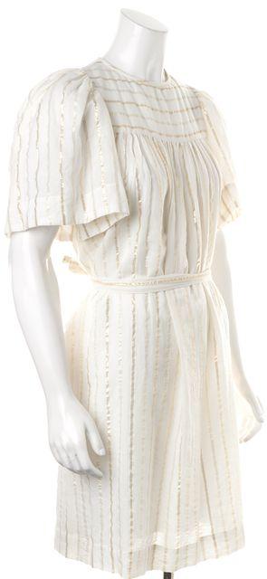 ÉTOILE ISABEL MARANT White Gold Metallic Striped Sheath Dress