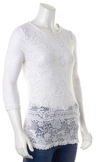 ÉTOILE ISABEL MARANT White Floral Crochet Lave Open Knit Top