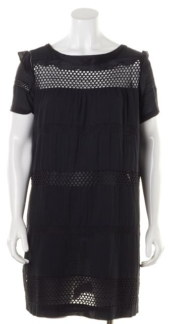 ÉTOILE ISABEL MARANT Black Crochet Panels Shift Dress