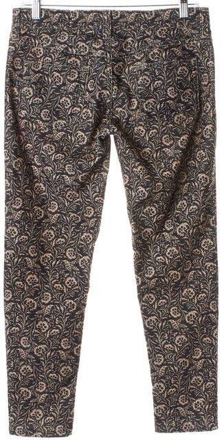 ÉTOILE ISABEL MARANT Beige Black Floral Print Corduroy Pants Size FR 38 US 27