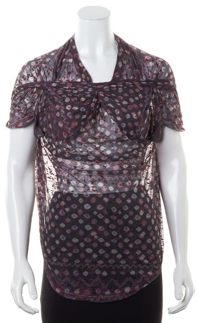 ÉTOILE ISABEL MARANT Gray Purple Abstract Burnout Sheer Blouse Top
