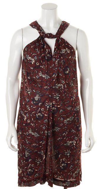 ÉTOILE ISABEL MARANT Burgundy Red Navy Floral Sleeveless Shift Dress