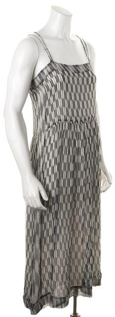 ÉTOILE ISABEL MARANT Black Gray Silk Abstract Midi Sheath