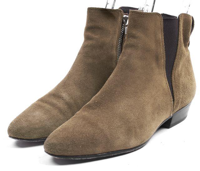 ÉTOILE ISABEL MARANT Olive Green Suede Patsha Flat Ankle Boots
