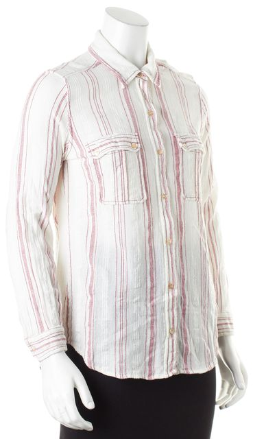 ÉTOILE ISABEL MARANT White Red Striped Long Sleeve Button Down Shirt
