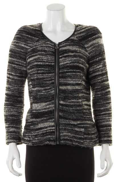 ÉTOILE ISABEL MARANT Black Gray Knit Leather Trim Jacket