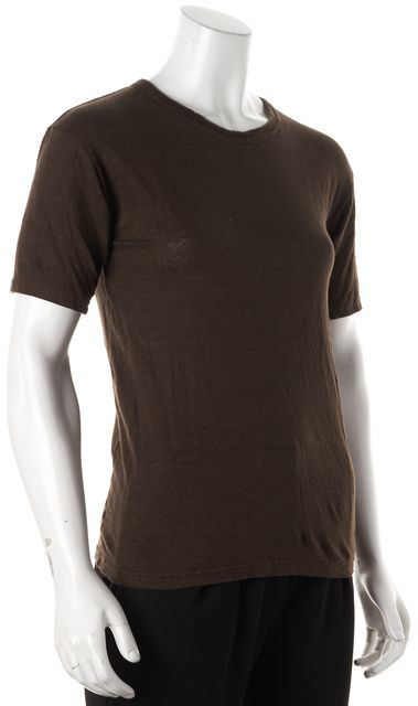 ÉTOILE ISABEL MARANT Brown Linen Short Sleeve Basic Tee