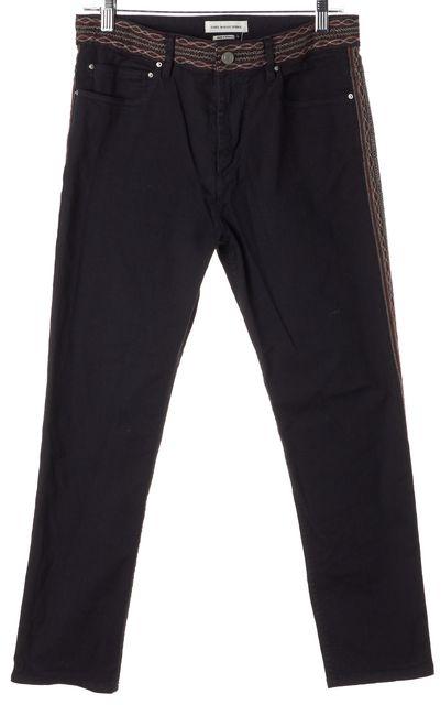 ÉTOILE ISABEL MARANT Black Abstract Border Side Panel Straight Leg Jeans