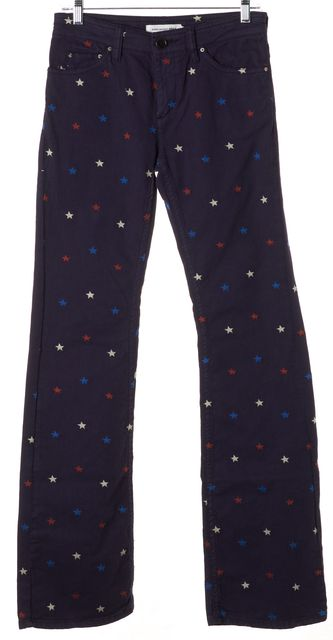 ÉTOILE ISABEL MARANT Navy Red White Star Embroidered Straight Leg Jeans