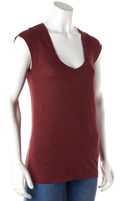 ÉTOILE ISABEL MARANT Red Rust Linen V-Neck Cap Sleeve T-Shirt