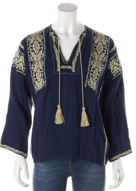 ÉTOILE ISABEL MARANT Blue Embroidered Tunic Top