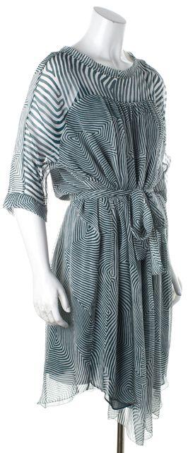 ÉTOILE ISABEL MARANT Green Abstract Sheer Silk Blouson Dress