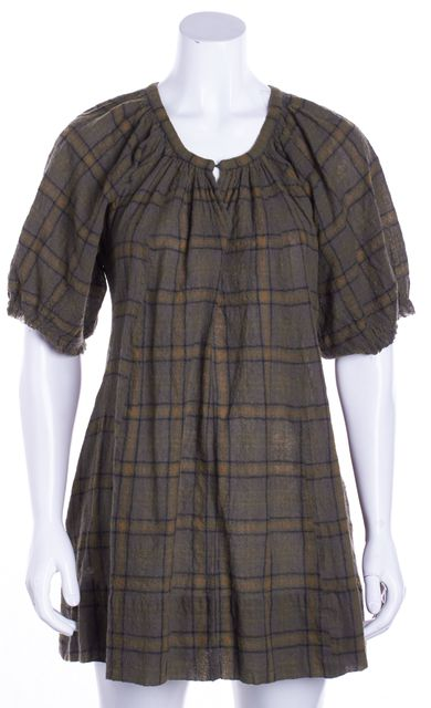 ÉTOILE ISABEL MARANT Brown Plaid Puff Sleeve Wool V-Neck Blouse