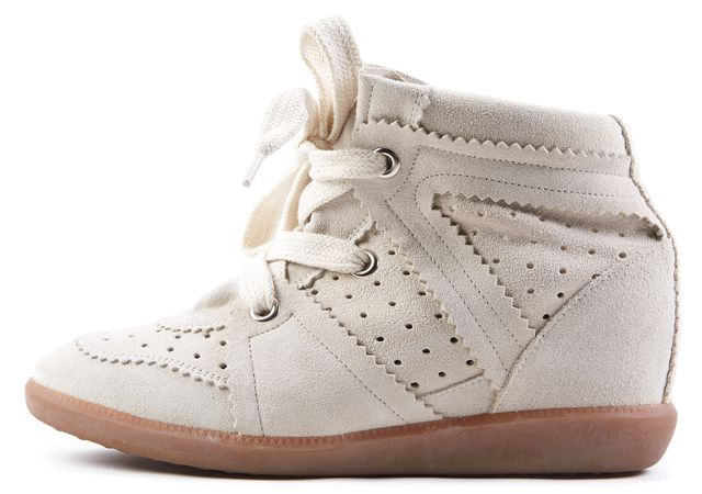 ÉTOILE ISABEL MARANT Ivory Suede Bobby Wedge Sneaker