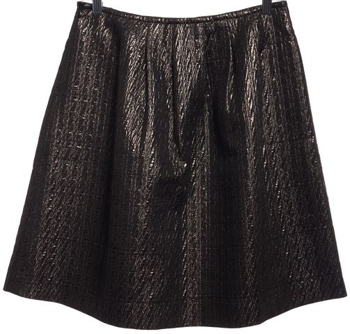 ETRO Gold Metallic Quilted Pleated Skirt Size 4 IT 40
