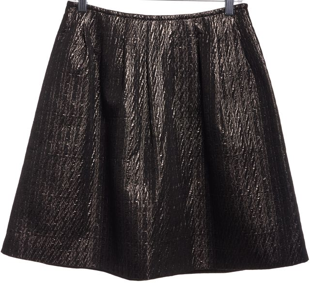 ETRO Gold Metallic Quilted Pleated Skirt