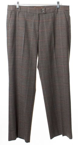 ETRO Beige Brown Check Wool Trousers Pants