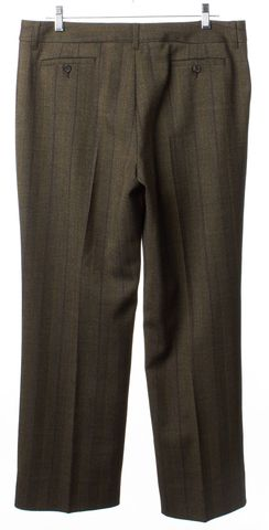 ETRO Brown Gray Striped Wool Trousers Pants