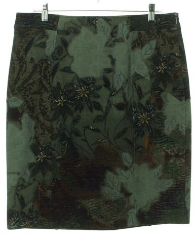 ETRO Green Multi Floral Wool Straight Skirt