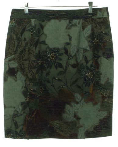 ETRO Green Multi Floral Wool Straight Skirt Size 12 IT 48