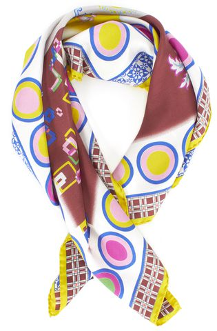 ETRO Blue Yellow White Multi Color Print Scarf