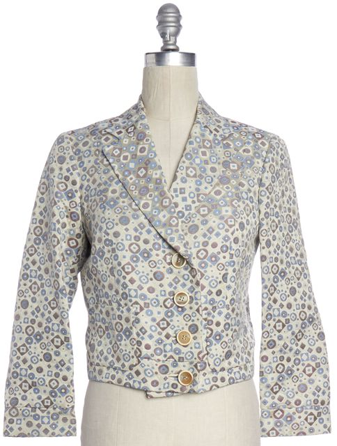 ETRO Beige Multi Color Geometric Print 4 Button Blazer