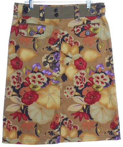 ETRO Yellow Multi Color Floral Print Straight Skirt