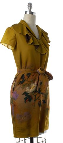 ETRO Mustard Yellow Floral Print Wool Ruffled Belted Shift Dress