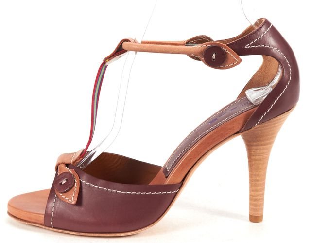 ETRO Purple Brown Leather T-Strap Sandal Heels