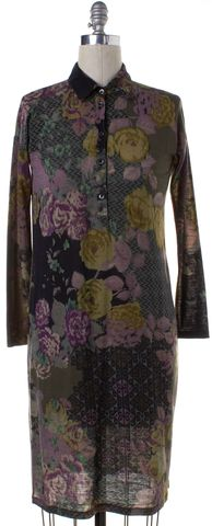 ETRO Olive Green Floral Wool Shift Dress